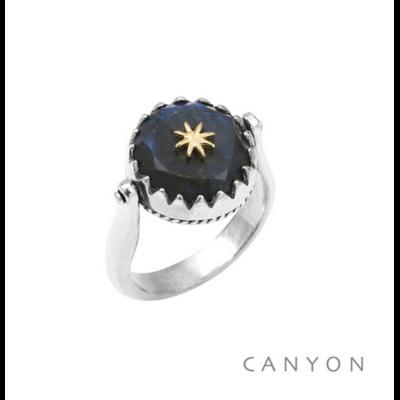 Bague argent 925 réversible 1 coté labradorite ronde étoile laiton 1 coté plaque d'argent étoile - Canyon