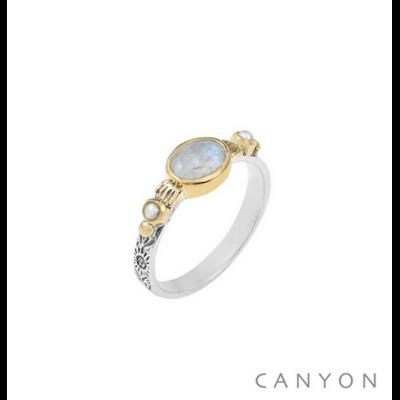 Bague argent 925 pierre de lune sur anneau gravé et 2 perles blanches serties de laiton - Canyon