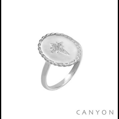 Bague argent 925 ovale décoré d'une étoile filante blanche - Canyon