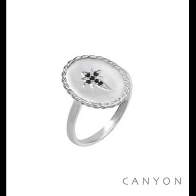 Bague argent 925 ovale décoré d'une étoile filante noire - Canyon