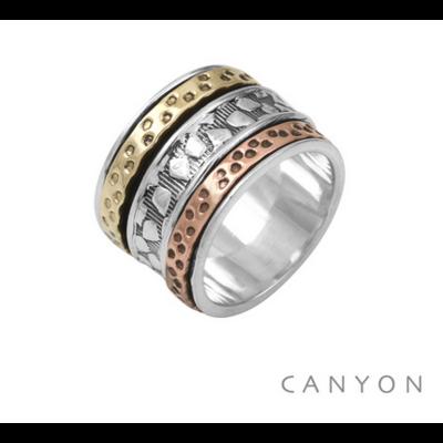 Bague argent 925 anneau orné d'anneaux mouvants en argent, cuivre et laiton - Canyon