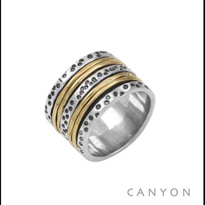 Bague argent 925 anneau orné d'anneaux mouvants en argent et laiton - Canyon