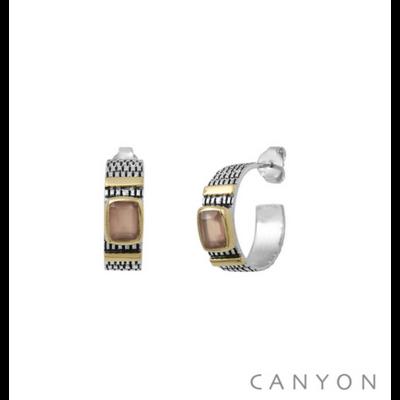 Boucles d'oreilles créoles argent 925 calcédoine rose serti et 2 godrons de laiton - Canyon