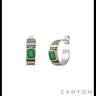 Boucles d'oreilles créoles argent 925 onyx vert serti et 2 godrons de laiton - Canyon