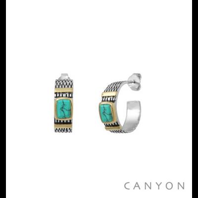 Boucles d'oreilles créoles argent 925 turquoise serti et 2 godrons de laiton - Canyon