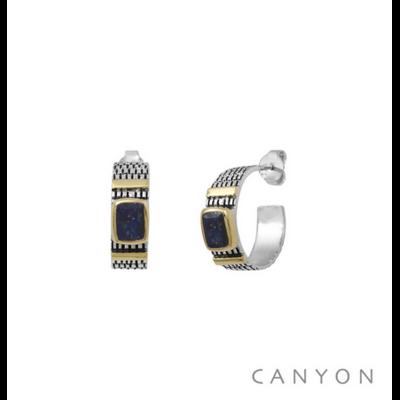 Boucles d'oreilles créoles argent 925 lapis lazuli serti et 2 godrons de laiton - Canyon