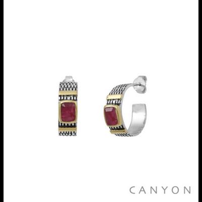 Boucles d'oreilles créoles argent 925 sillimanite teintée rouge serti et 2 godrons de laiton - Canyon
