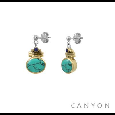 Boucles d'oreilles argent 925 turquoise ovale serti de laiton et lapis lazuli - Canyon