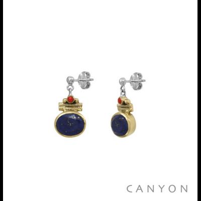 Boucles d'oreilles argent 925 lapis lazuli ovale serti de laiton et corail - Canyon