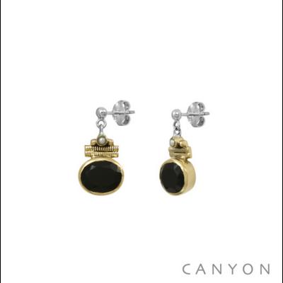 Boucles d'oreilles argent 925 onyx noir ovale serti de laiton et perle blanche - Canyon