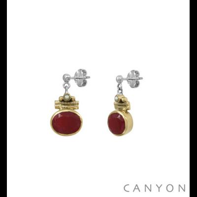Boucles d'oreilles argent 925 sillimanite teintée rouge ovale serti de laiton et perle blanche - Canyon
