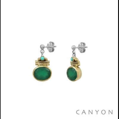 Boucles d'oreilles argent 925 onyx vert ovale serti de laiton et turquoise - Canyon