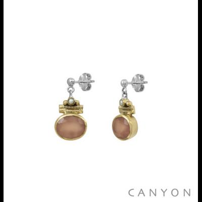 Boucles d'oreilles argent 925 calcedoine rose ovale serti de laiton et perle blanche - Canyon