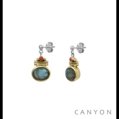 Boucles d'oreilles argent 925 labradorite ovale serti de laiton et perle corail - Canyon