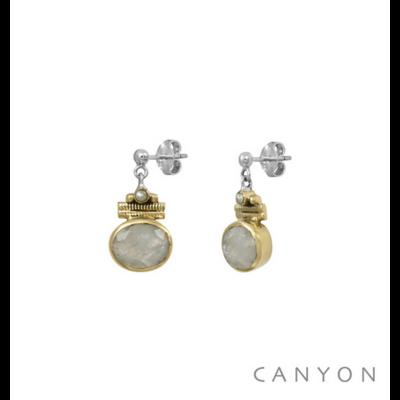 Boucles d'oreilles argent 925 pierre de lune ovale serti de laiton et perle blanche - Canyon