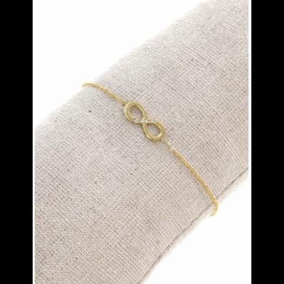 Bracelet symbole infini strass doré pendentif H0.60cm L1.50cm acier inoxydable - Mile Mila