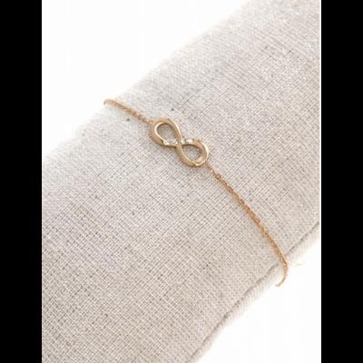 Bracelet symbole infini strass or rose pendentif H0.60cm L1.50cm acier inoxydable - Mile Mila