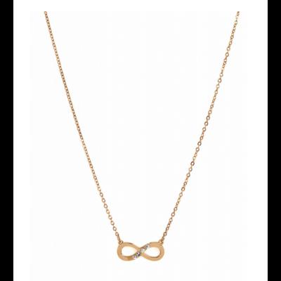 Collier INFINI STRASS or rose pendentif H 0.6cm L 1.5cm acier inoxydable Milë Mila