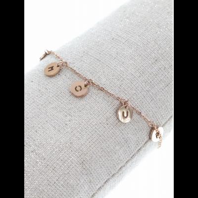 Bracelet cercle AMOUR or rose pendentif H0.7cm L0.7cm acier inoxydable  - Mile Mila