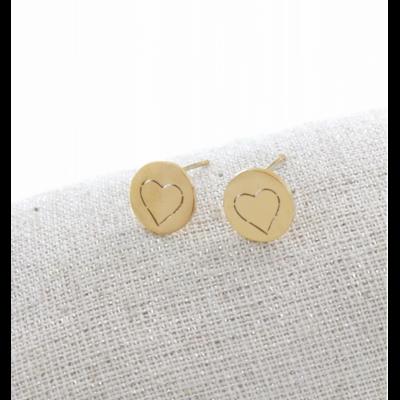 Boucles d'oreilles clous coeur doré acier inoxydable Milë Mila