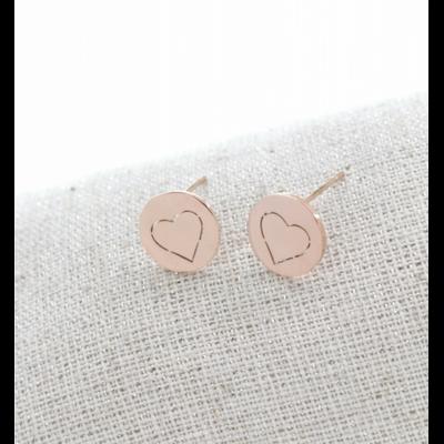 Boucles d'oreilles clous coeur or rose acier inoxydable Milë Mila