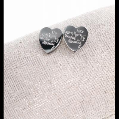 Boucles d'oreilles clous écritures coeur argent acier inoxydable Milë Mila
