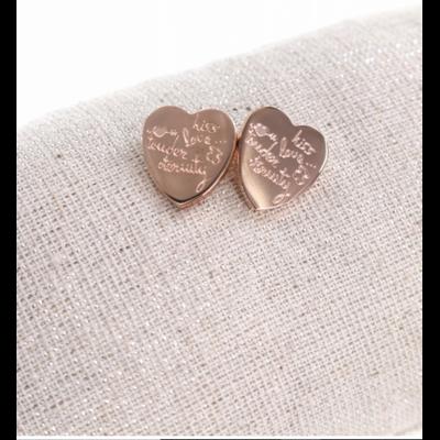 Boucles d'oreilles clous écritures coeur or rose acier inoxydable Milë Mila