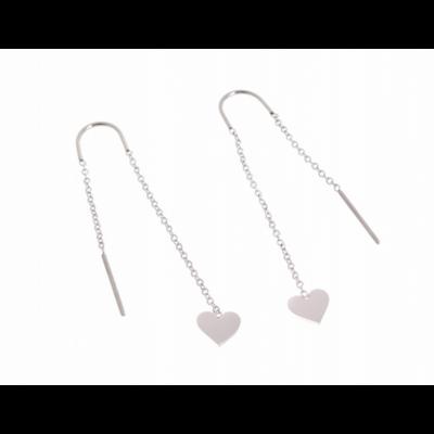 Boucles d'oreilles crochets chaine coeur argent acier inoxydable Milë Mila