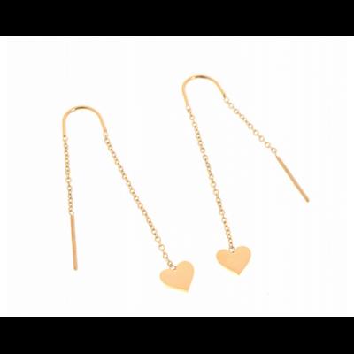Boucles d'oreilles crochets chaine coeur doré acier inoxydable Milë Mila
