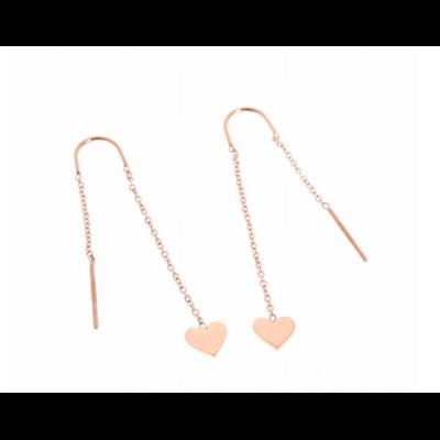 Boucles d'oreilles crochets chaine coeur or rose acier inoxydable Milë Mila
