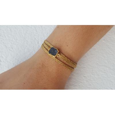bracelet 3 brins fils d'or pierre druzy onyx veritable la belle simone