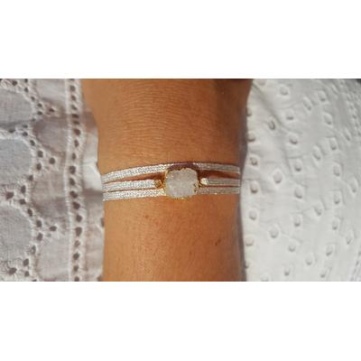 bracelet 3 brins fils d'argent pierre druzy quartz veritable la belle simone