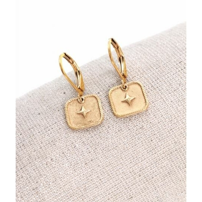 Boucles d'oreilles dormeuses étoile dans carré doré acier inoxydable  Milë Mila