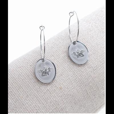 Boucles d'oreilles créole ovale ange argent acier inoxydable Milë Mila