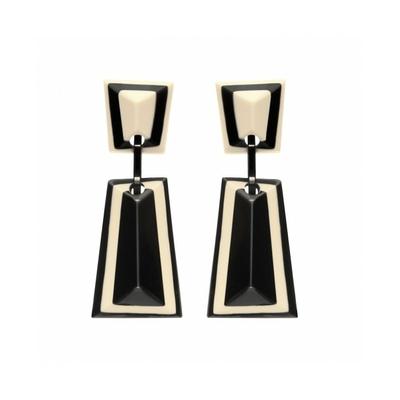 Boucles d'oreilles clips noir & blanc longues résine MARION GODART