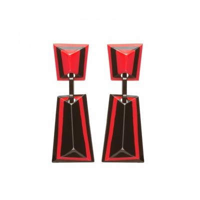 Boucles d'oreilles clips noir & rouge longues résine MARION GODART
