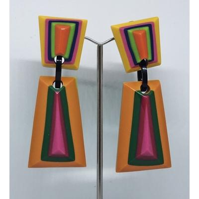 Boucles d'oreilles clips multi-couleurs longues résine MARION GODART