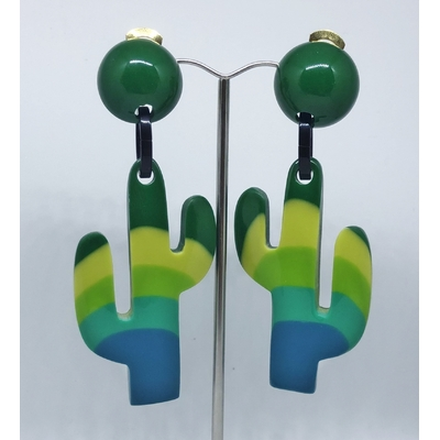 Boucles d'oreilles clips cactus résine MARION GODART