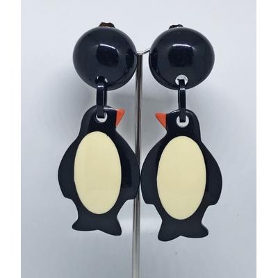 Boucles d'oreilles clips pingouin résine MARION GODART