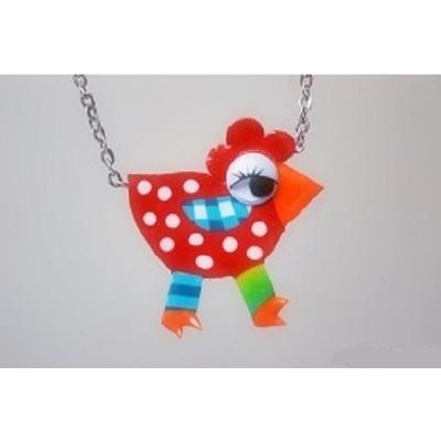 collier pendentif poule argile polymère pois rouge chaine plaqué argent 45 cm  Liz Créations