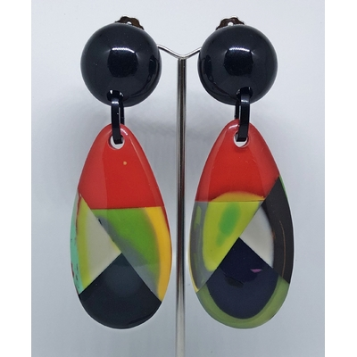 Boucles d'oreilles clips goutte dominante rouge MARION GODART