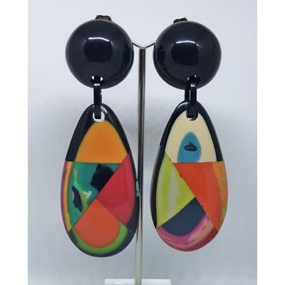 Boucles d'oreilles clips goutte multi-couleurs MARION GODART