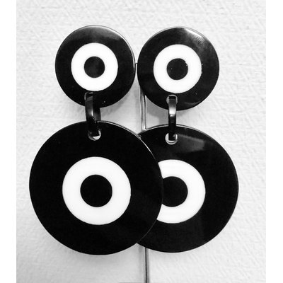 Boucles d'oreilles clips disque noir et blanc Marion Godart