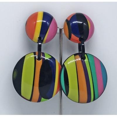 Boucles d'oreilles clips rayures multi-couleurs Marion Godart