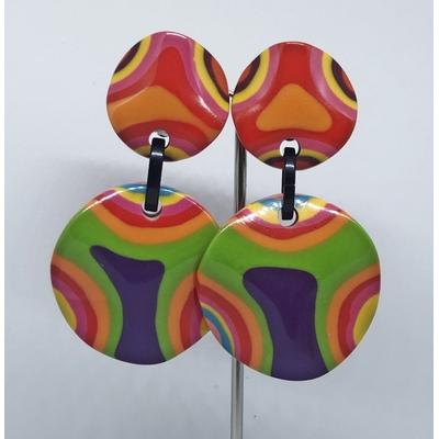 Boucles d'oreilles clips ondulé multi-couleurs MARION GODART