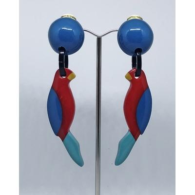 Boucles d'oreilles clips perroquet boule bleu MARION GODART