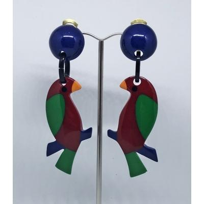 Boucles d'oreilles clips perruche boule bleu MARION GODART
