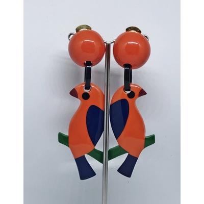 Boucles d'oreilles clips perruche boule orange MARION GODART