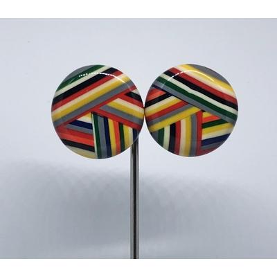 Boucles d'oreilles clips cabochon pelote multi-couleurs Marion Godart