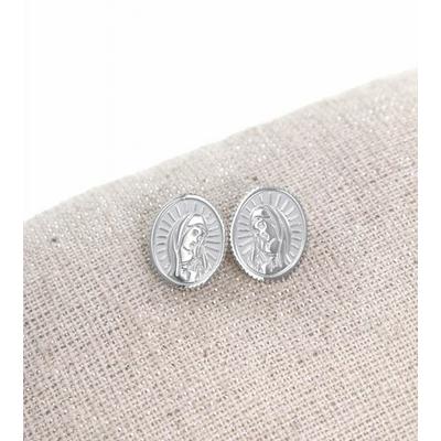 Boucles d'oreilles clous madone argent pendentif H1.20cm x L1.00cm acier inoxydable  Milë Mila